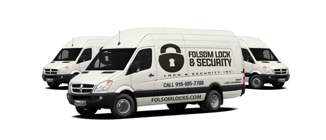 Folsom Lock and Security - a locksmith company - Image of 3 Vans with Logo and Phone Number